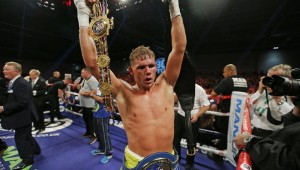 Billy Joe Saunders celebrated his win over Chris Eubank Jr