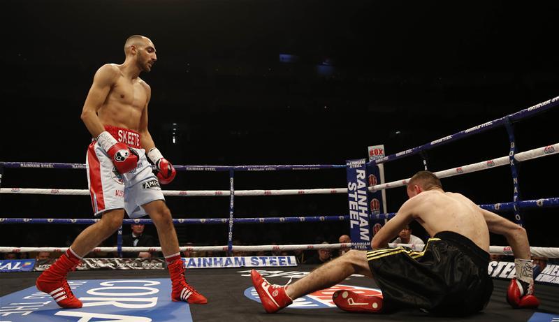 Bradley Skeete knocks down an opponent