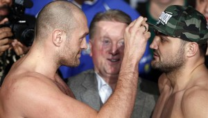 Tyson Fury and Christian Hammer at the Risky Business weigh-in