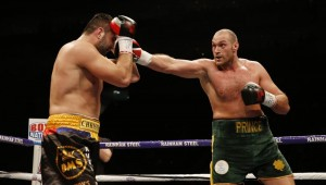 Tyson Fury in action against Christian Hammer