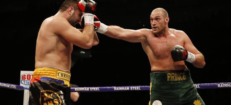 Tyson Fury in action against Christian Hammer