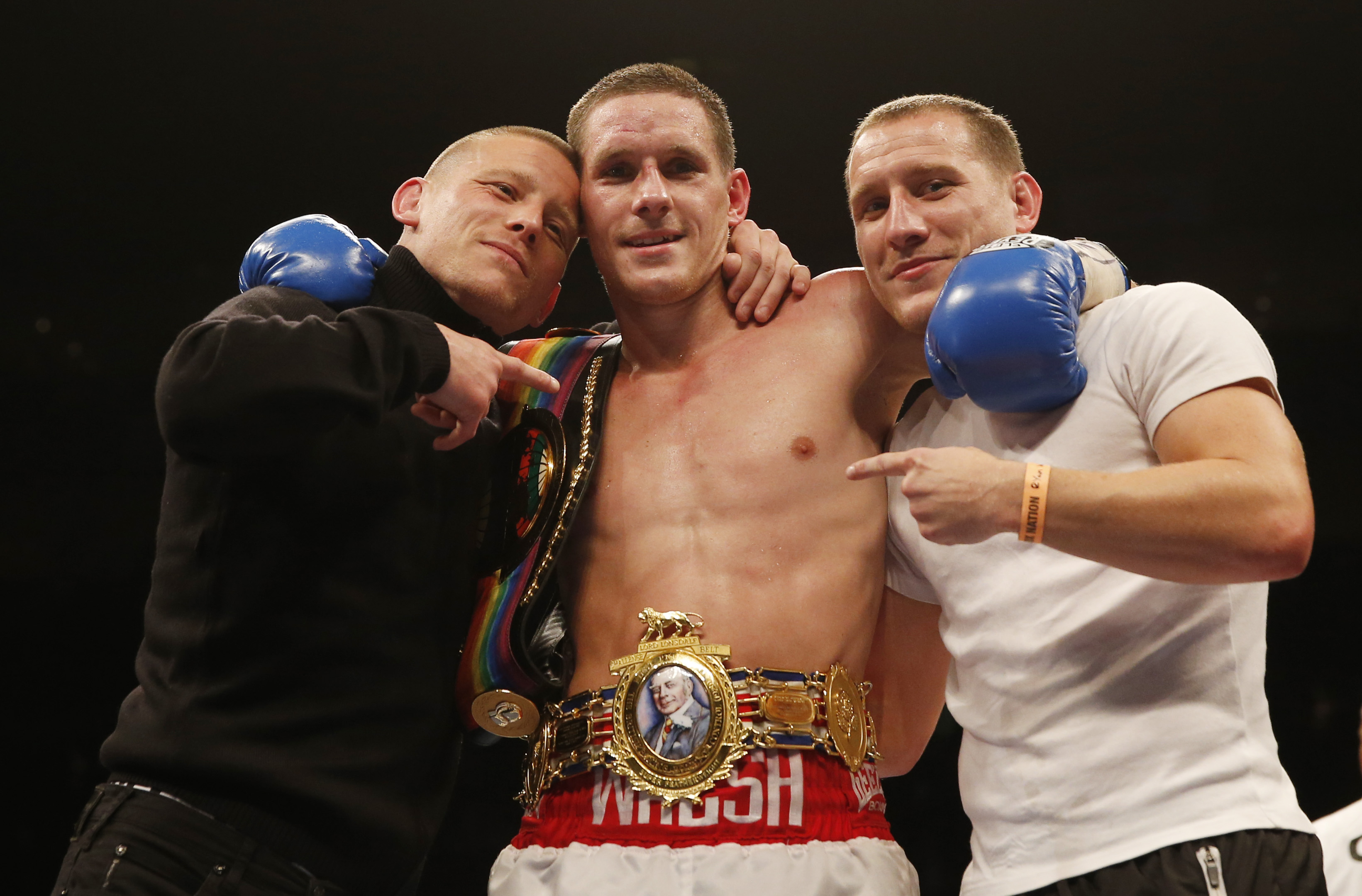 Boxing - Liam Walsh v Joe Murray British & Commonwealth Super-Featherweight Title's - O2 Arena, London - 28/2/15 Liam Walsh celebrates victory Mandatory Credit: Action Images / Peter Cziborra EDITORIAL USE ONLY.