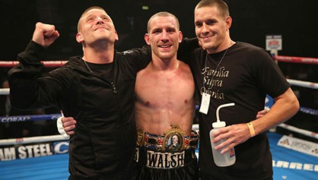 Ryan Walsh after winning the British Featherweight title