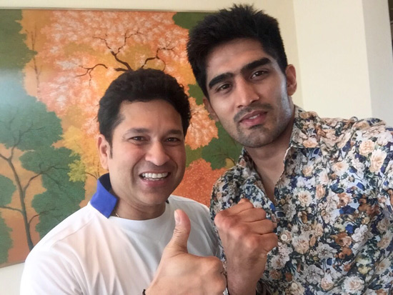 Vijender Singh meets Sachin Tendulkar