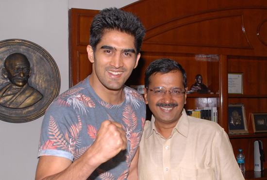 Vijender Singh meets Arvind Kejriwal