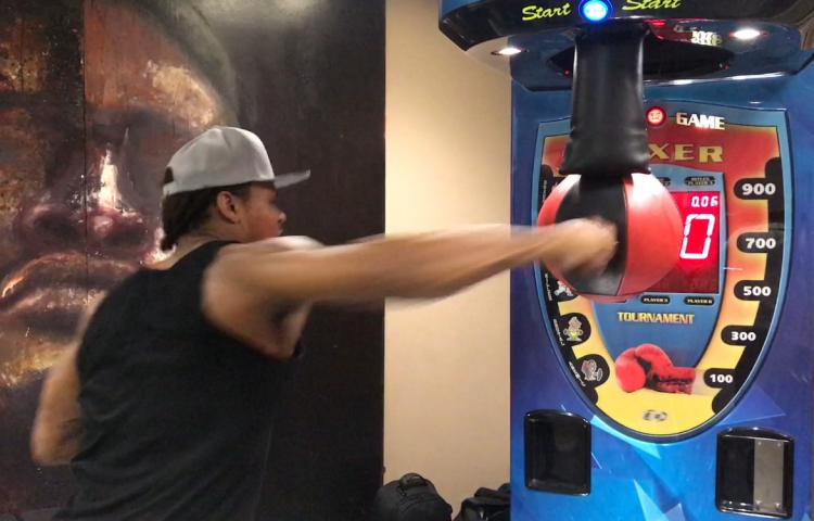 Anthony Yarde punching machine