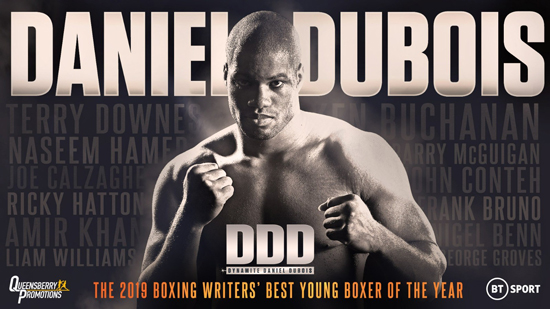 DANIEL DUBOIS WINS PRESTIGIOUS BOXING WRITERS' YOUNG BOXER OF THE YEAR AWARD FOR 2019